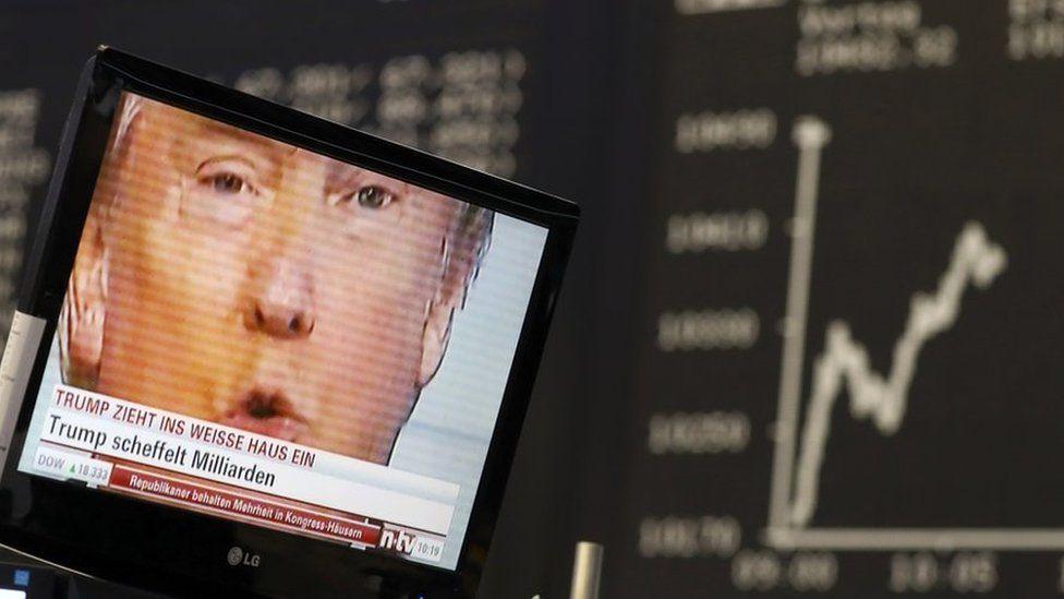 Donald Trump on TV in Frankfurt stock exchange