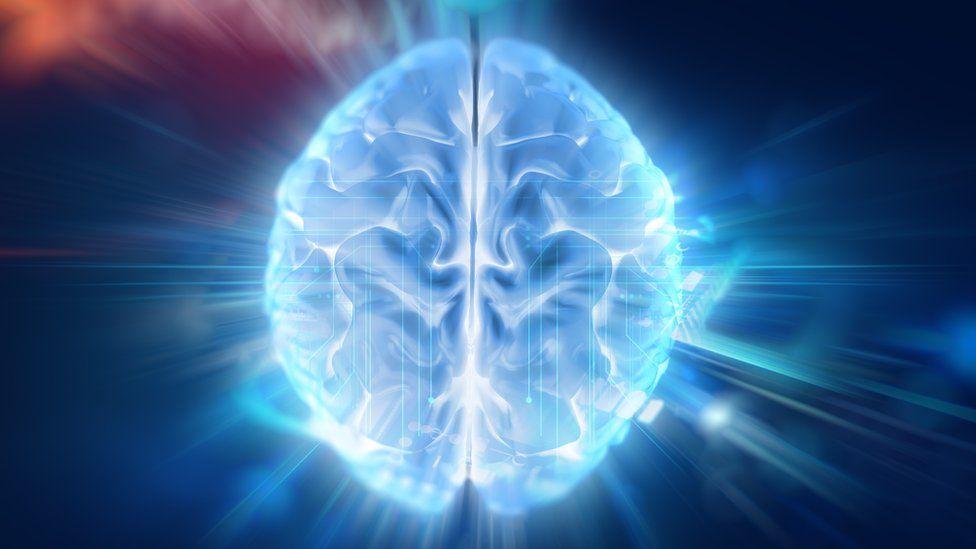 3d illustration of human brain on technology background.
