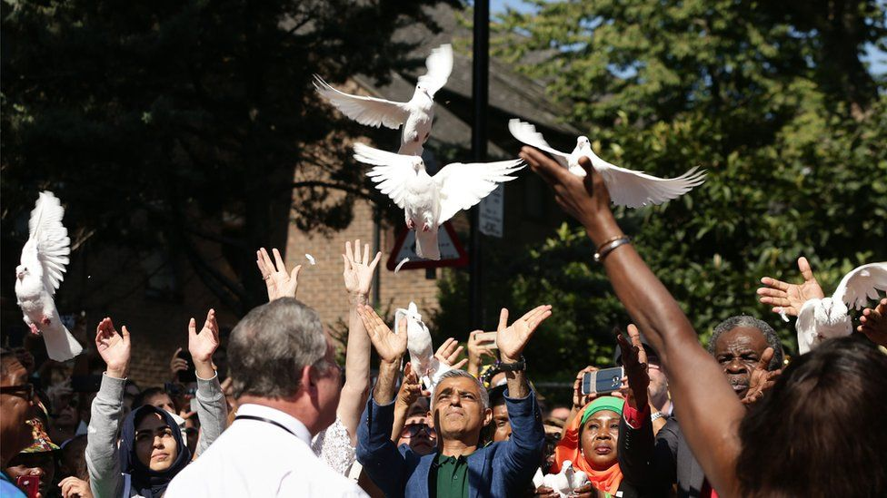 Mayor Sadiq Khan helps to release some doves