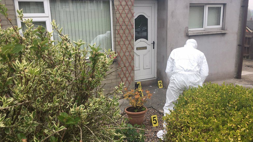 The site of a pipe bomb attack in Armagh