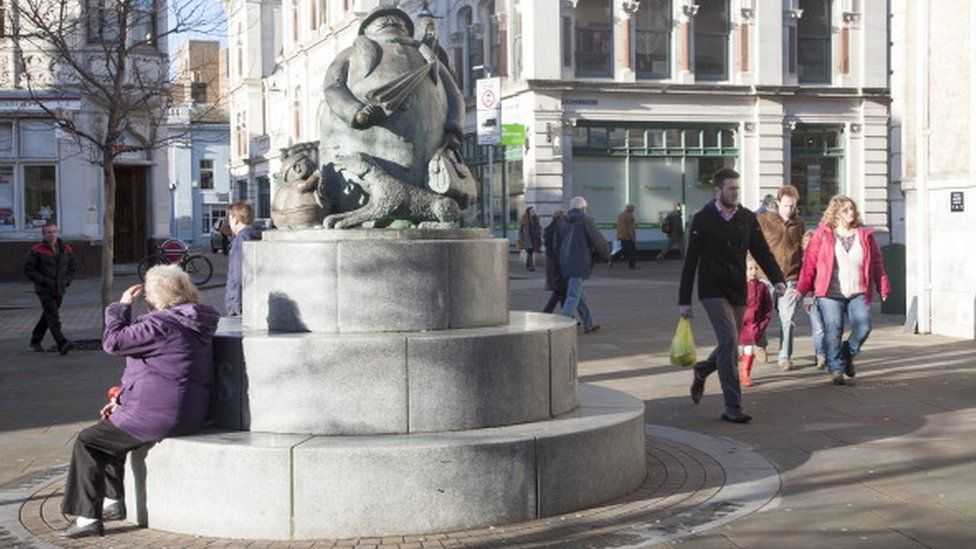 The Giles statue commemorates the well loved Grandma character, Ipswich, Suffolk, England