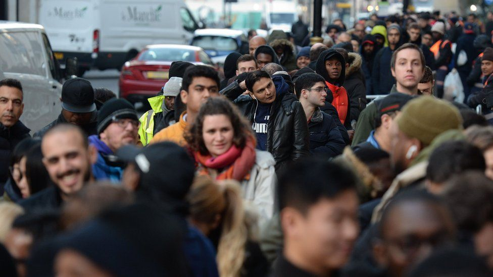 Crowds in Regent Street, central London