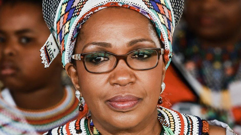 Zulu Queen Mantfombi Dlamini Zulu attends the festival of ' Zulu 200' celebrating the existence of the Zulu Nation at the King Shaka International airport in Durban on September 22, 2013.