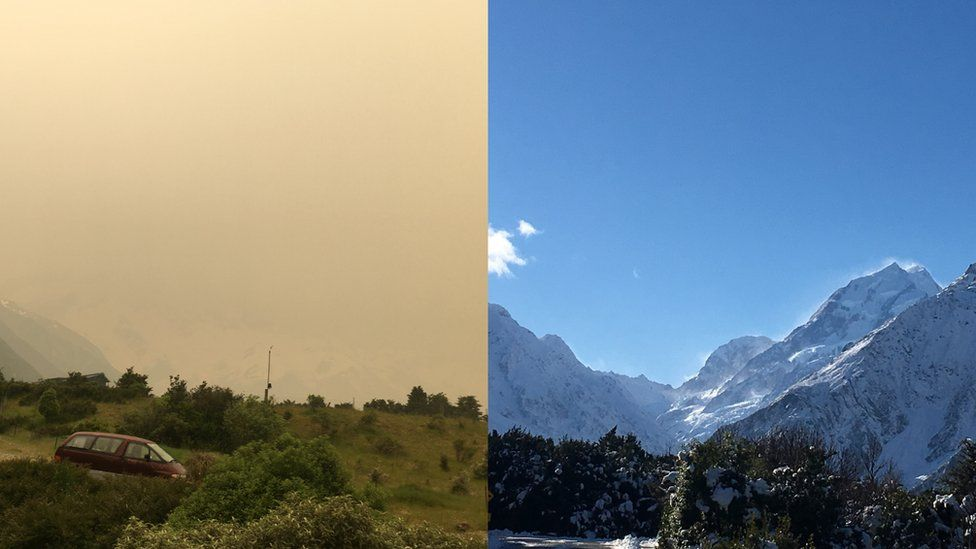View of Mount Cook with and without haze
