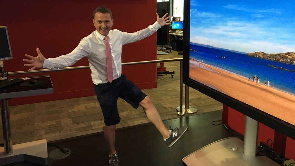 BBC Weather presenter Matt Taylor turns up to work in shorts during the UK heatwave