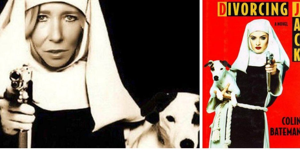 Composite image showing Sally-Anne Jones' 'nun-with-a-gun' picture and the cover of Divorcing Jack