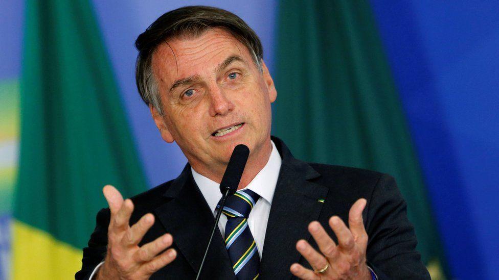 Brazil's President Jair Bolsonaro speaking in April 2019
