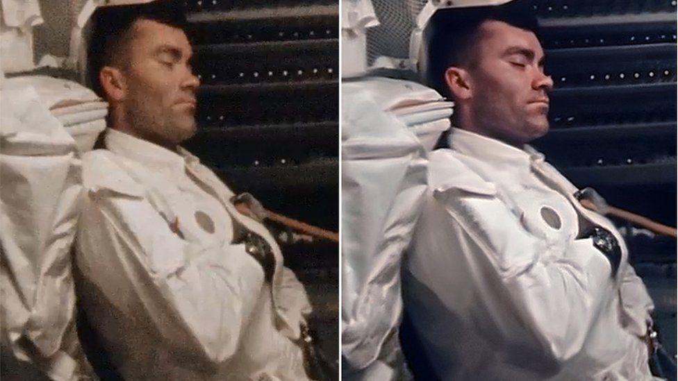 Fred Haise tomando una siesta, antes y después