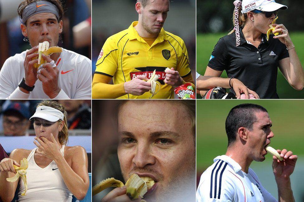 Numerous sports people eat bananas