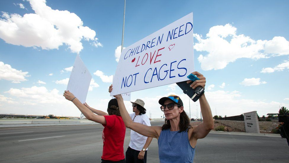 Protesters from El Paso and California joined the Caravan to Clint, TX to protest against the continued separation of migrant children form their families and the conditions they are being held by CBP.