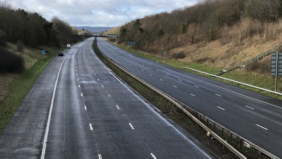 A view of the empty M5 near Taunton