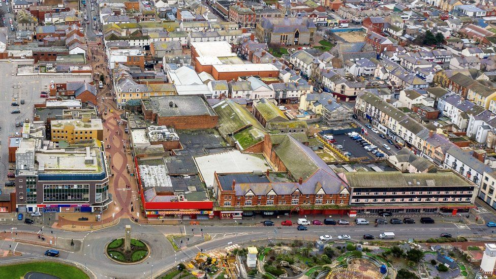 Aerial shot of Rhyl with the Queen's Market in the foreground