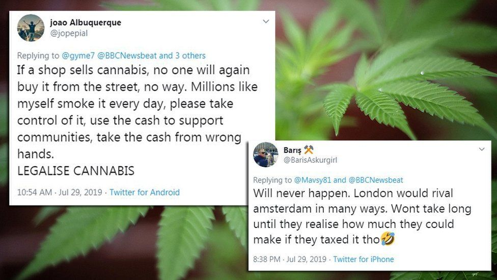 Cannabis reactions from Twitter