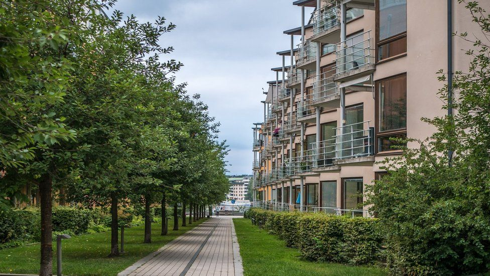 Hammarby Sjostad, modern buildings and trees.