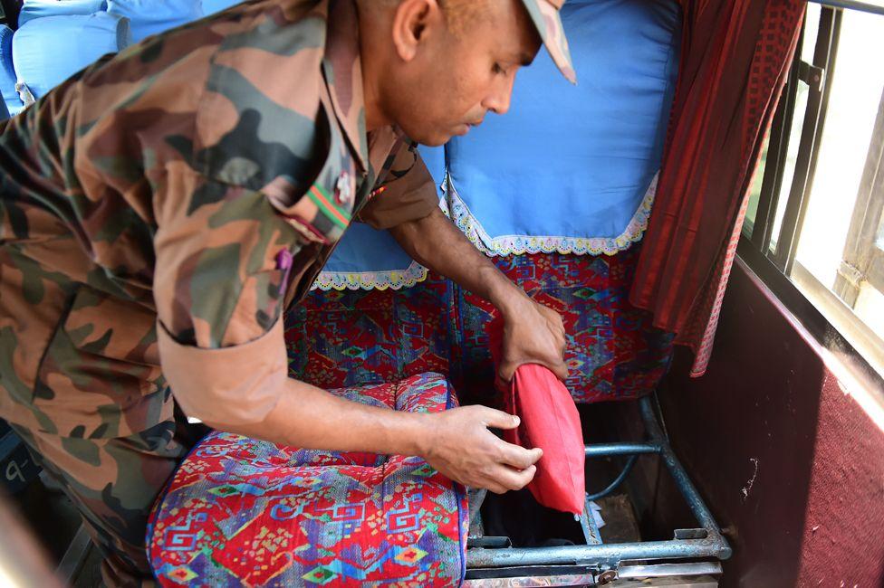 A border guard finds yaba in a bus near Teknaf