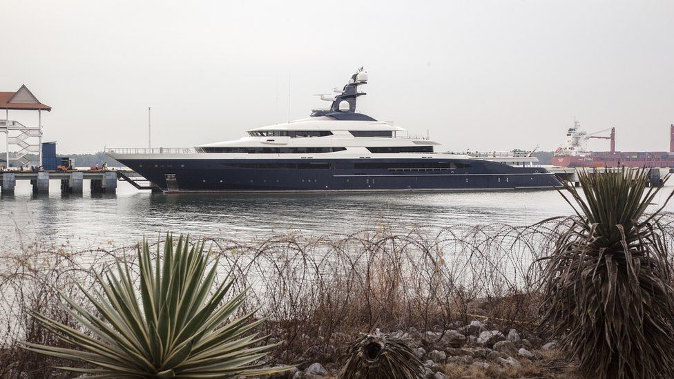 Jho Low's infamous mega-yacht is seen docked at Port Klangs Boustead Cruise Terminal in Selangor, Malaysia