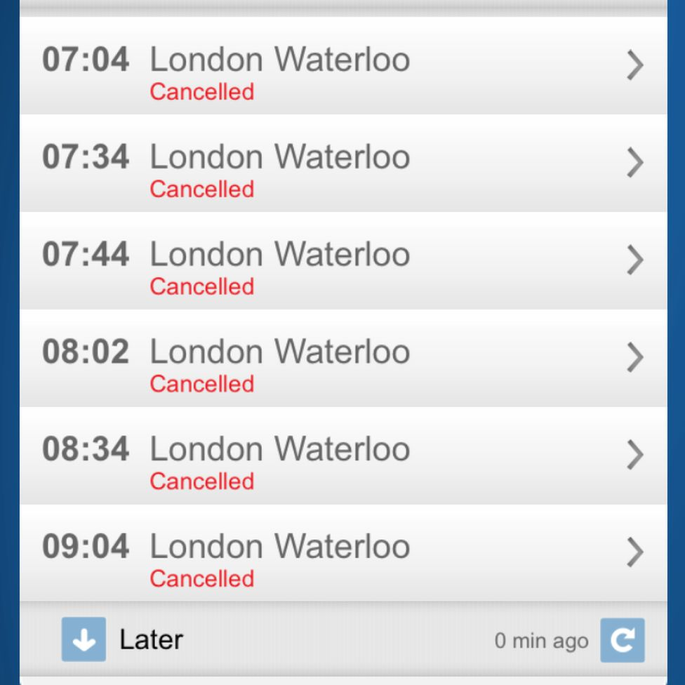 A list of cancelled trains