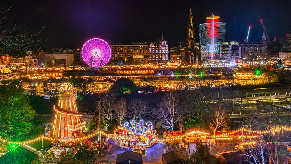 Wide view of the markets in a long-exposure shot