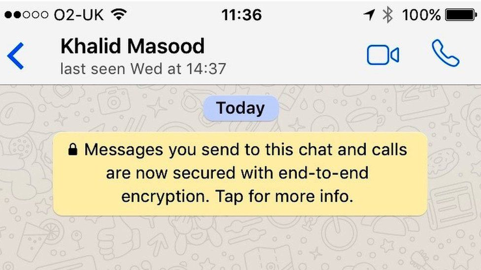 The status on the Whatsapp messenger account belonging to attacker Khalid Masood