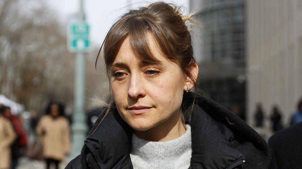 Allison Mack outside United States Federal Court