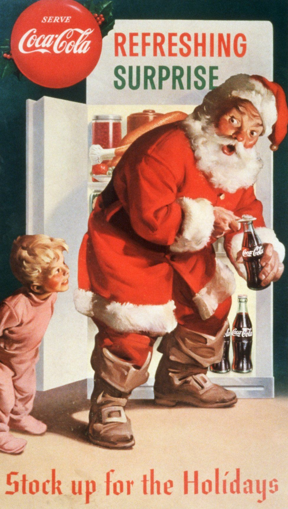 An advertising poster by Haddon Sundblom showing a young boy surprising Santa Claus helping himself to a bottle of Coke