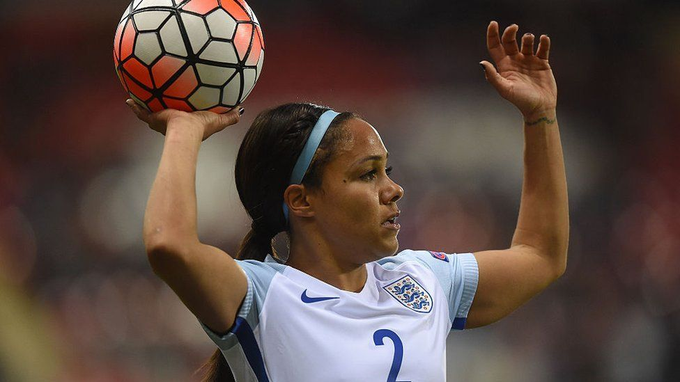 Alex Scott playing for England