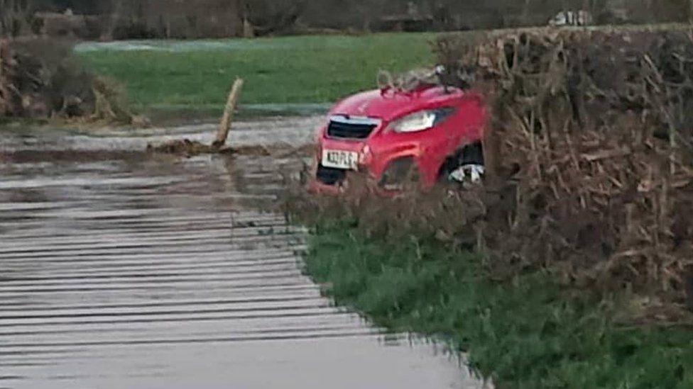 Frankie's car in the floodwater