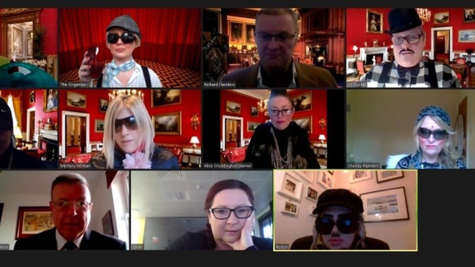 Staff at Remarkable taking part in their online murder mystery game