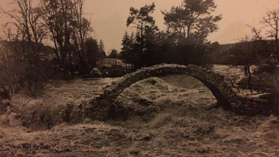 Bridge of Carr pictured during a flood in November 1978