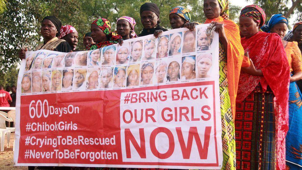 Bring Back Our Girls campaigners in Abuja, Nigeria - January 2016
