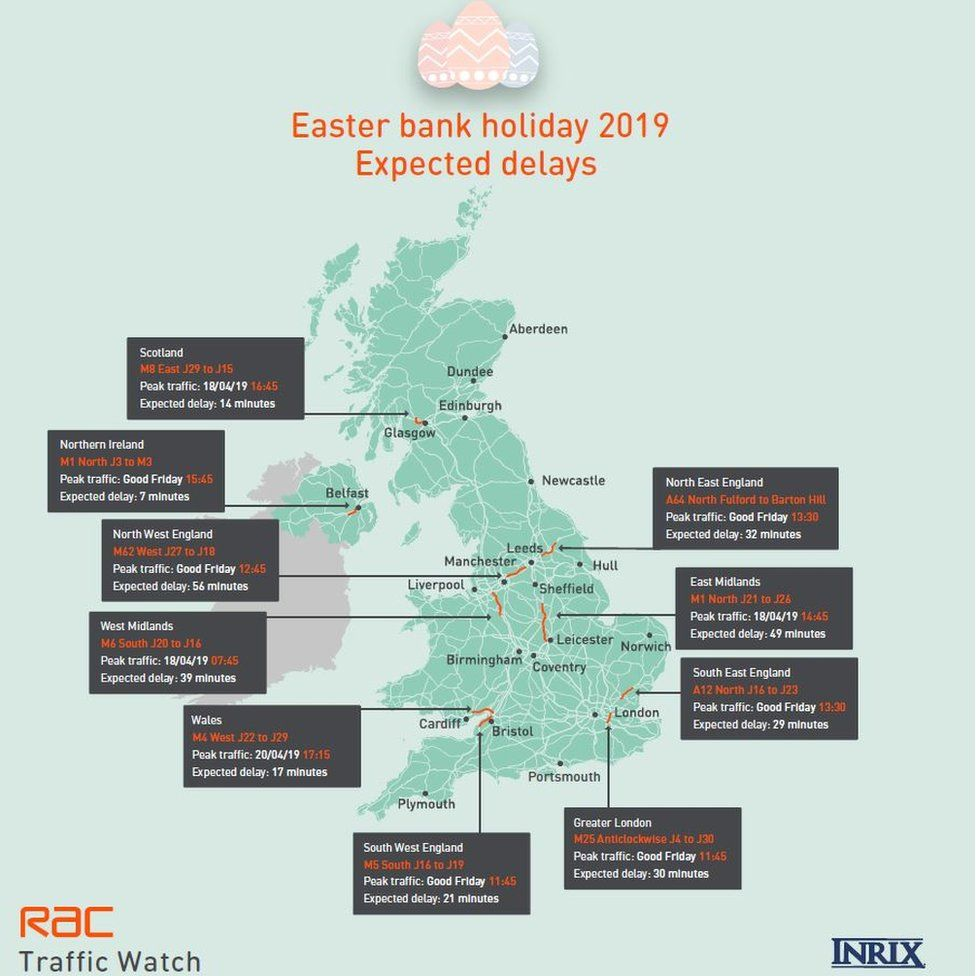 Easter bank holiday expected delays