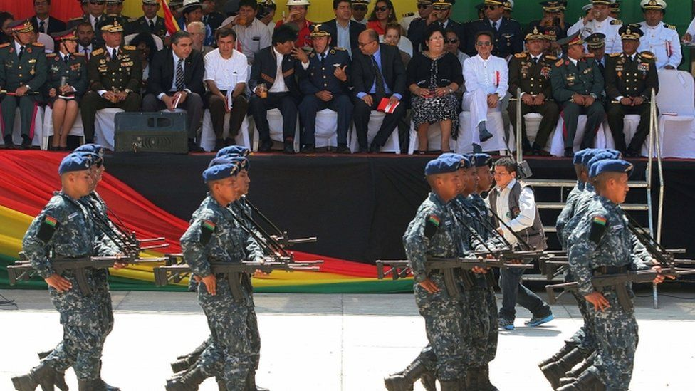 """The inauguration of the military school which Bolivia's government said would teach an """"anti-imperialist"""" doctrine in Warnes near Santa Cruz, Bolivia, August 2016"""
