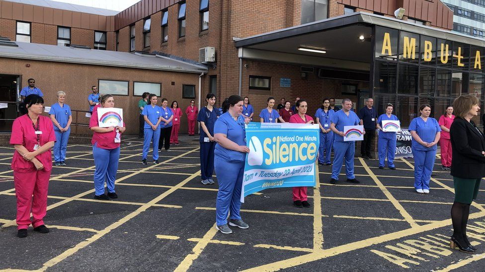 Staff at Altnagelvin in Londonderry also observed the silence
