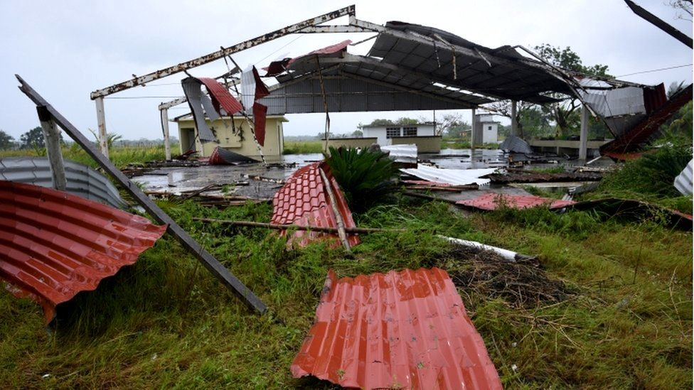 A damaged building, which had been out of use, is seen after Hurricane Grace slammed into the coast with torrential rains, in Costa Esmeralda, near Tecolutla, Mexico, 21 August 2021
