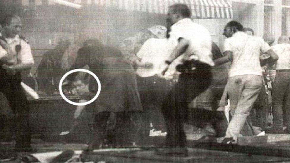 Jonathan Cash (circled) shortly after the explosion