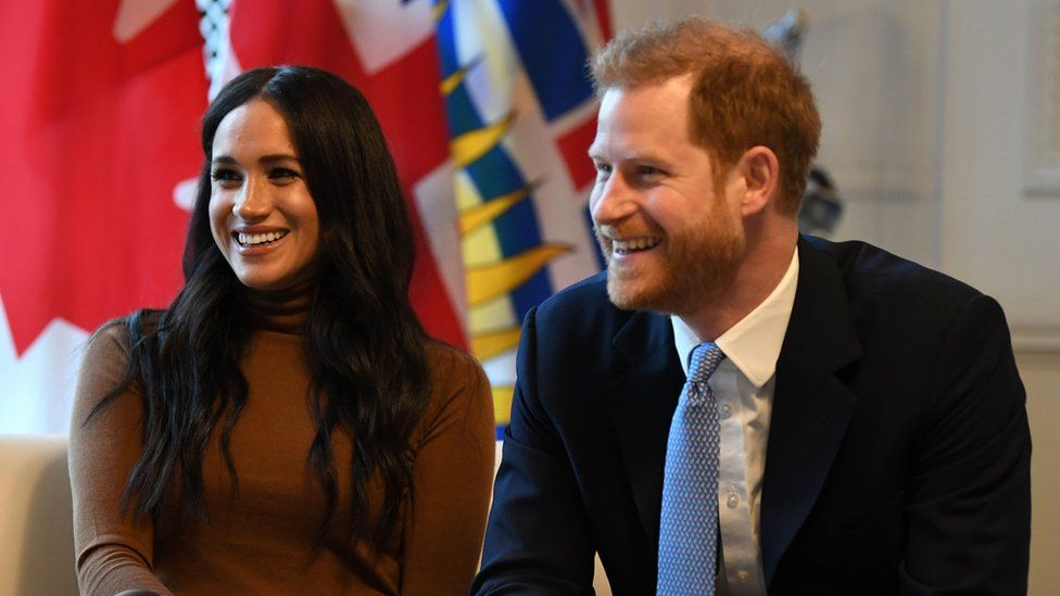 The Duchess and Duke of Sussex at Canada House on 7 January 2020