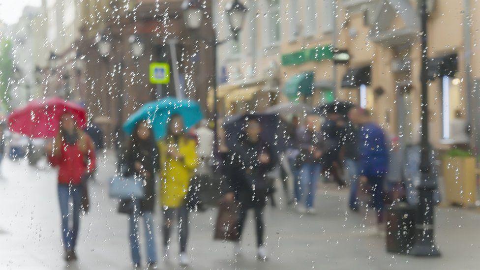 Rain outside a window