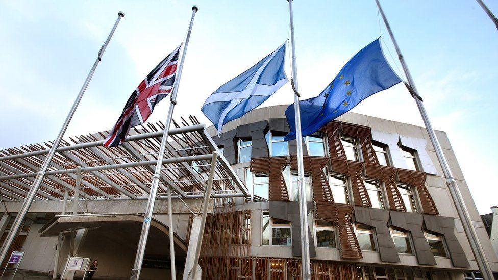 Union Jack, Saltire and European Union flag outside the Scottish Parliament