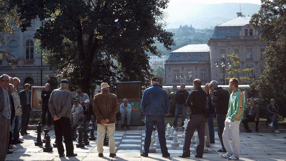 men playing chess in Sarajevo