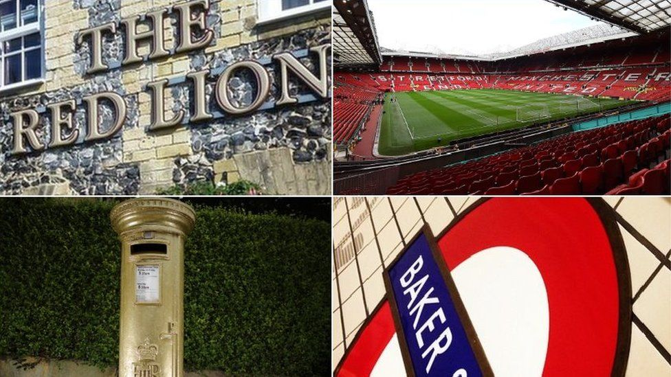 Red Lion sign, Old Trafford, gold postbox and a tube sign
