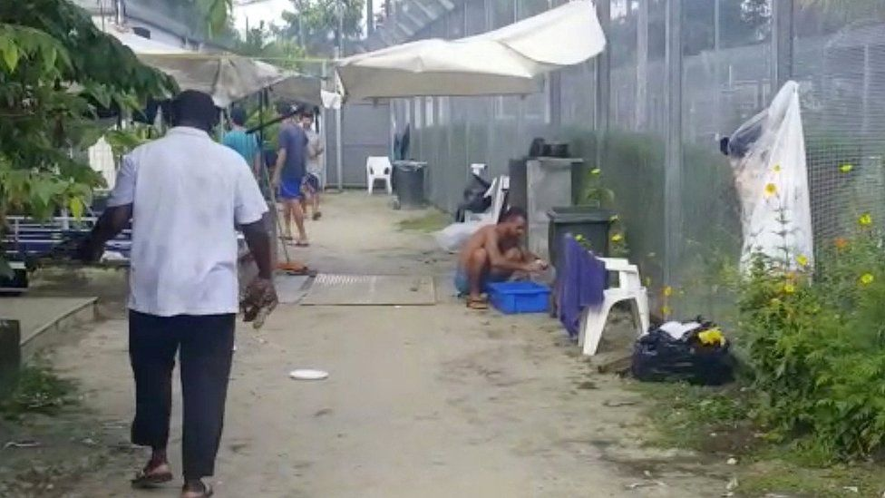 Asylum seekers at a detention centre on Manus Island, Papua New Guinea, in this still image taken from social media video November 3, 2017