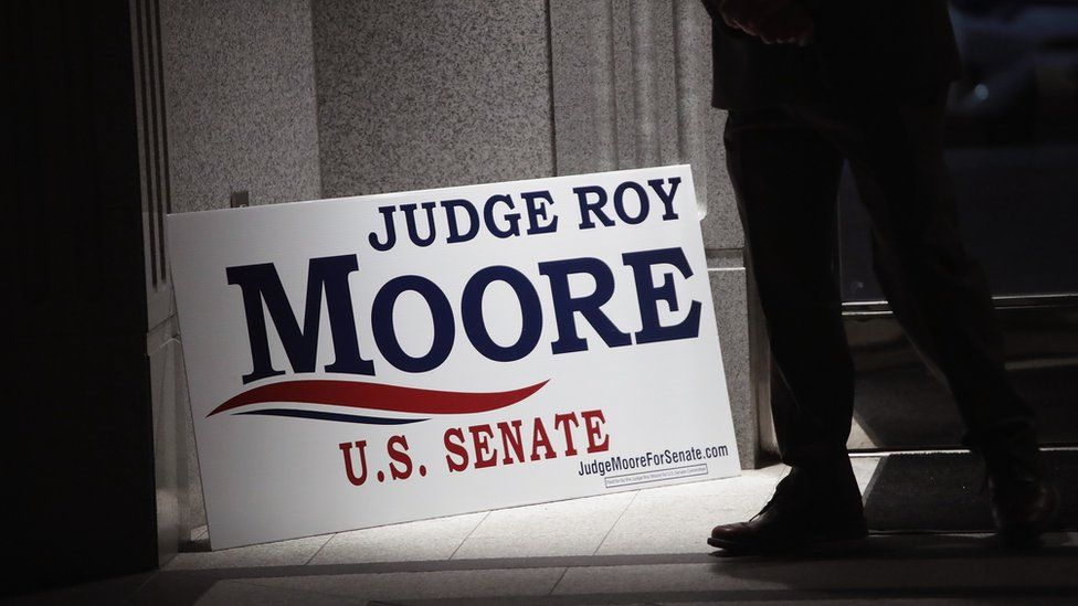 Roy Moore US senate election placard
