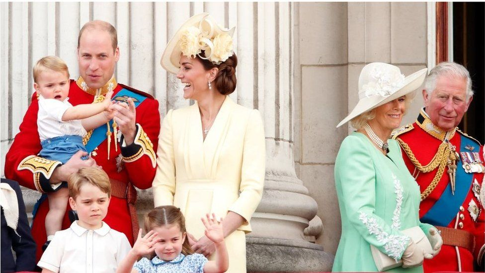 William, Kate, their children, Camilla and Prince Charles at the Trooping of the Colour in 2019