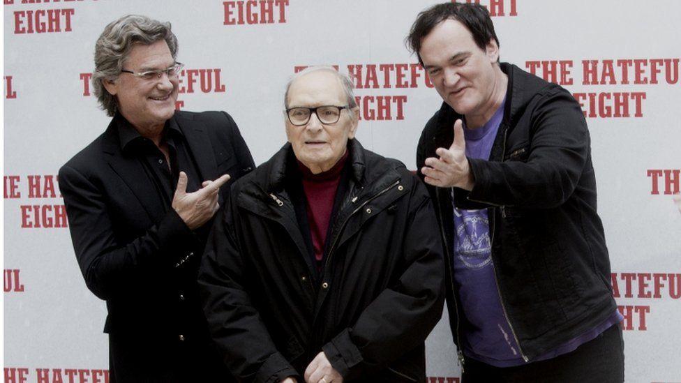 Ennio Morricone with Quentin Tarantino and Kurt Russell, 2016