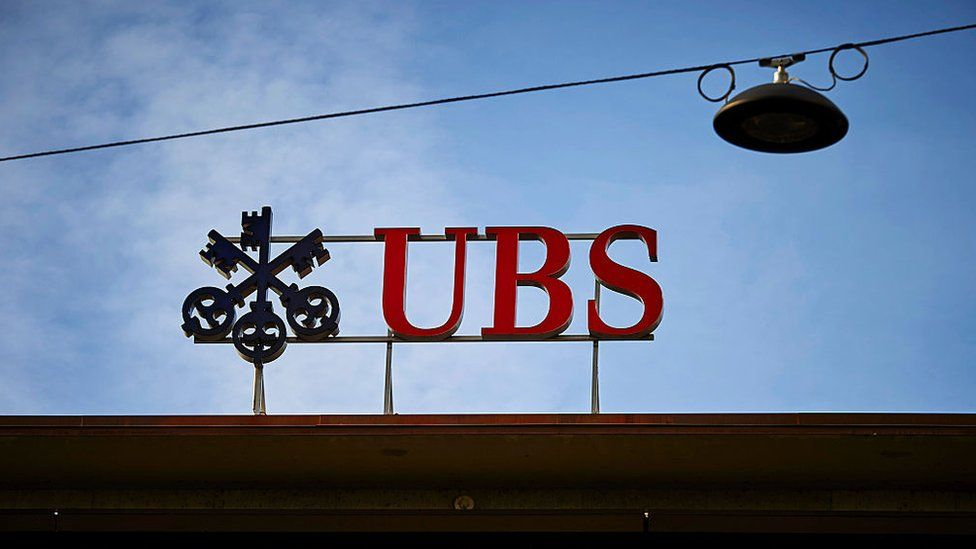 A sign for UBS bank