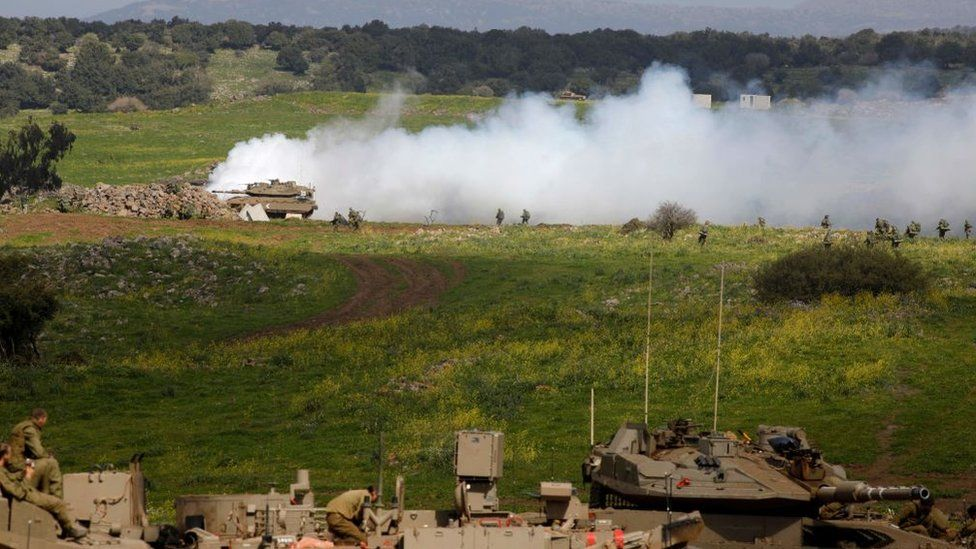 An Israeli military drill in the Golan Heights