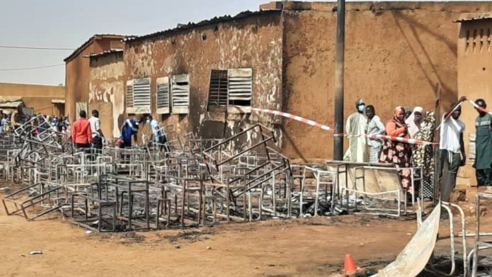 The burnout scene at the school in Niger - Wednesday 14 April 2021