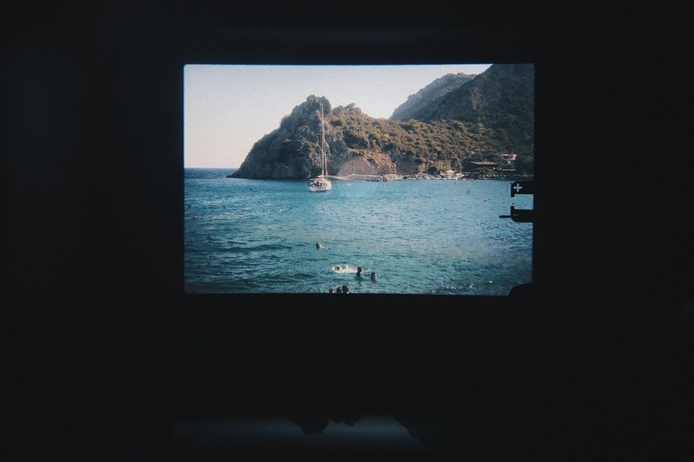 A slide projection of a photograph