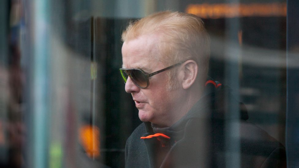 Radio 2 DJ Chris Evans leaves the restaurant after the lunch