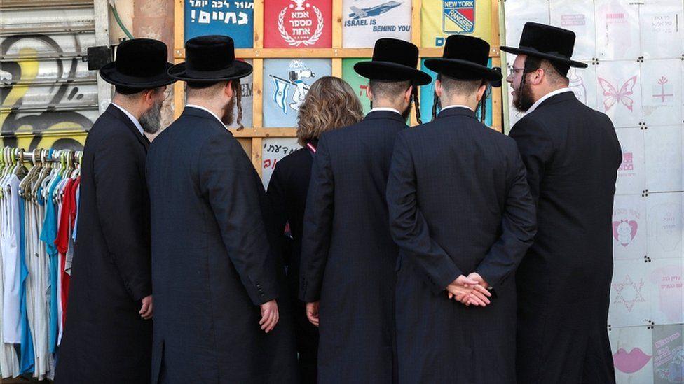 Ultra-Orthodox Jews at a market in Jerusalem in December 2019